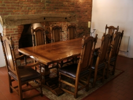 Square Column Table with Panel Back Chairs in Tudor Finish
