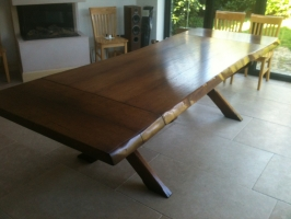 Oak Waney edge table, extra thick top and two leaf extensions