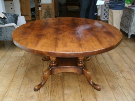 Round platform base table with extra thick top