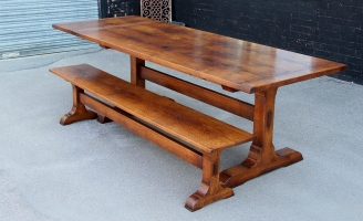 Solid oak monestry table with matching bench