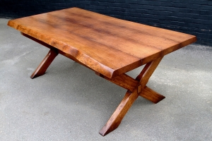 X frame solid oak table with extra thick top