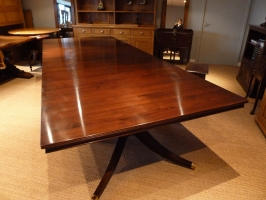 Solid mahognay three pedestal dining table