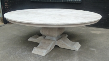 Large circular top table in our lime oak finish