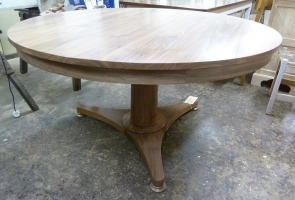 Walnut circular loo table in natural finish