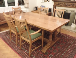 Twin Column Refectory table in Natural Finish