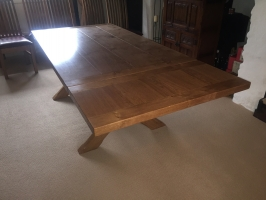 X Frame Oak Table in Straw Finish