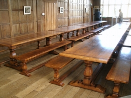 Square Column Table with Benches