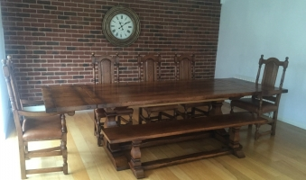 Square Column Refectory table with extension leaves in Tudor finish