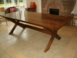 Solid Walnut x frame table