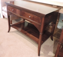 Flame mahogany two drawer side table