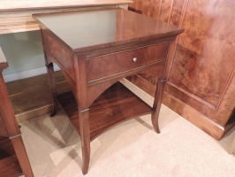 Pair of bedside flame mahogany cabinets