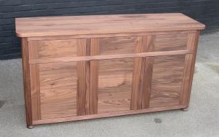 Solid walnut three door cabinet matt finish