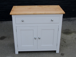 Solid oak painted side board in Farrow and Ball All White