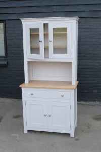 Solid oak painted kitchen cabinet in Farrow and Ball All White