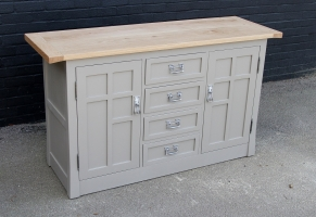 Painted Solid oak 2 door side board with a timber top