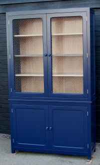 A solid oak painted two door cabinet in Farrow and Ball St Giles Blue