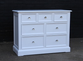 Solid oak painted white chest of drawers