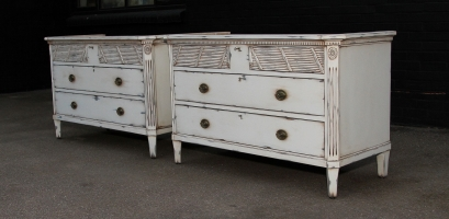 Pair of cabinets in Farrow and Ball White Tie in a rubbed finished
