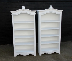 Pair of open cabinets painted in a solid white matt