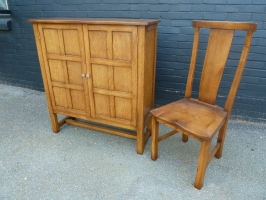 Two door cabinet with matching curved back chairs