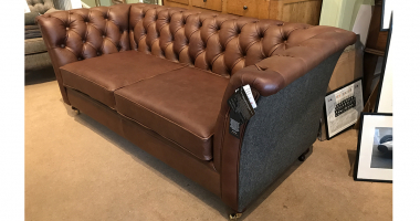Caesar Sofa in Cerato Brown Leather with Gamekeeper spruce