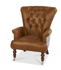 Harrington High Back Chair in Brown Cerato leather and Huntingtower Celestial
