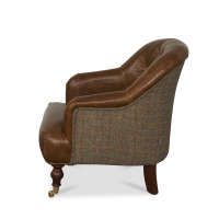 Harrington Low Back Chair in Brown Cerato Leather and Gamekeeper Thorn