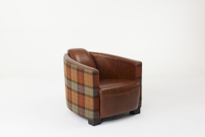 Brando Chair in Brown Cerato Leather and Skye Burnt Orange