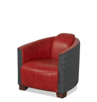 Brando Chair in Highlander Smoke and Cerato Red Leather