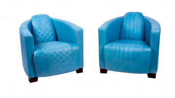 Emperor and Sovereign Chairs in Aqua Cerato Leather