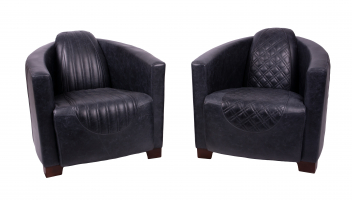 Emperor and Sovereign Chairs in Cerato Black Leather