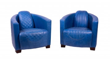 Emperor and Sovereign Chairs in Cerato Blue Leather