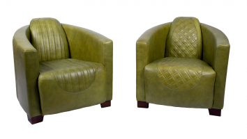 Emperor and Sovereign Chairs in Cerato Green Leather