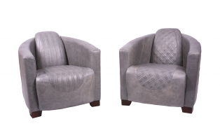 Emperor and Sovereign Chairs in Grey Cerato Leather
