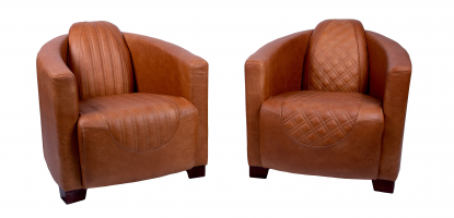 Emperor and Sovereign Chairs in Ingrassato Brown Leather