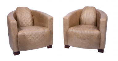 Emperor and Sovereign Chairs in Cerato Latte Leather