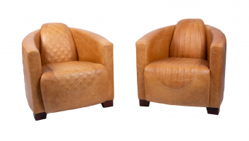 Emperor and Sovereign Chairs in Tan Cerato Leather