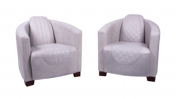 Sovereign and Emperor Chairs in Cerato Taupe Leather