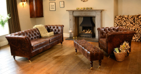 Harris Tweed and Leather sofas and chairs