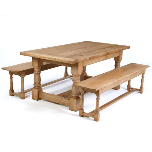 Oak Cannon Leg Refectory Dining Tables