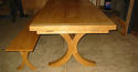 Oak Refectory Dining Table-Curved X Frame - picture 2