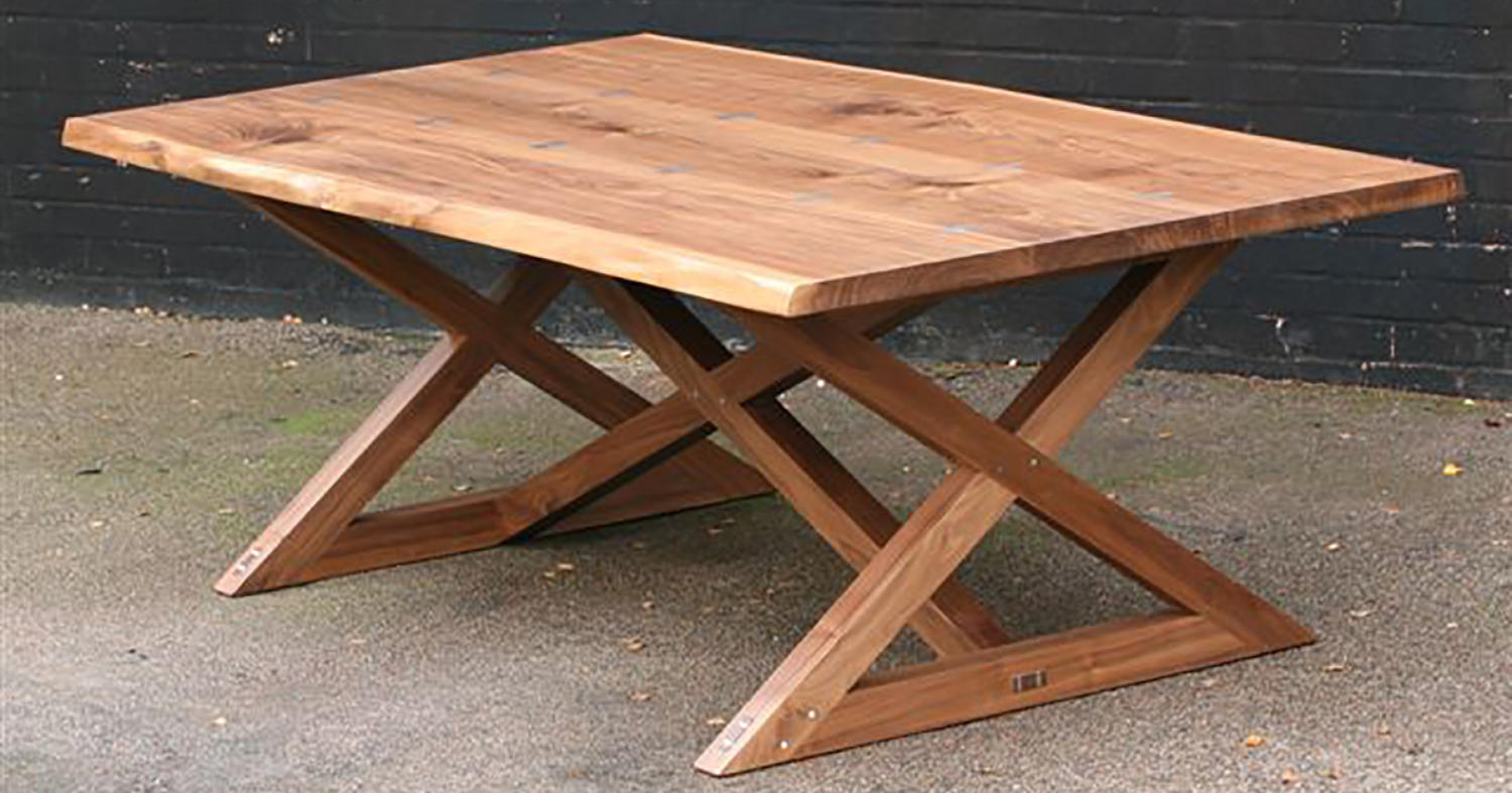 Walnut X frame Refectory Table