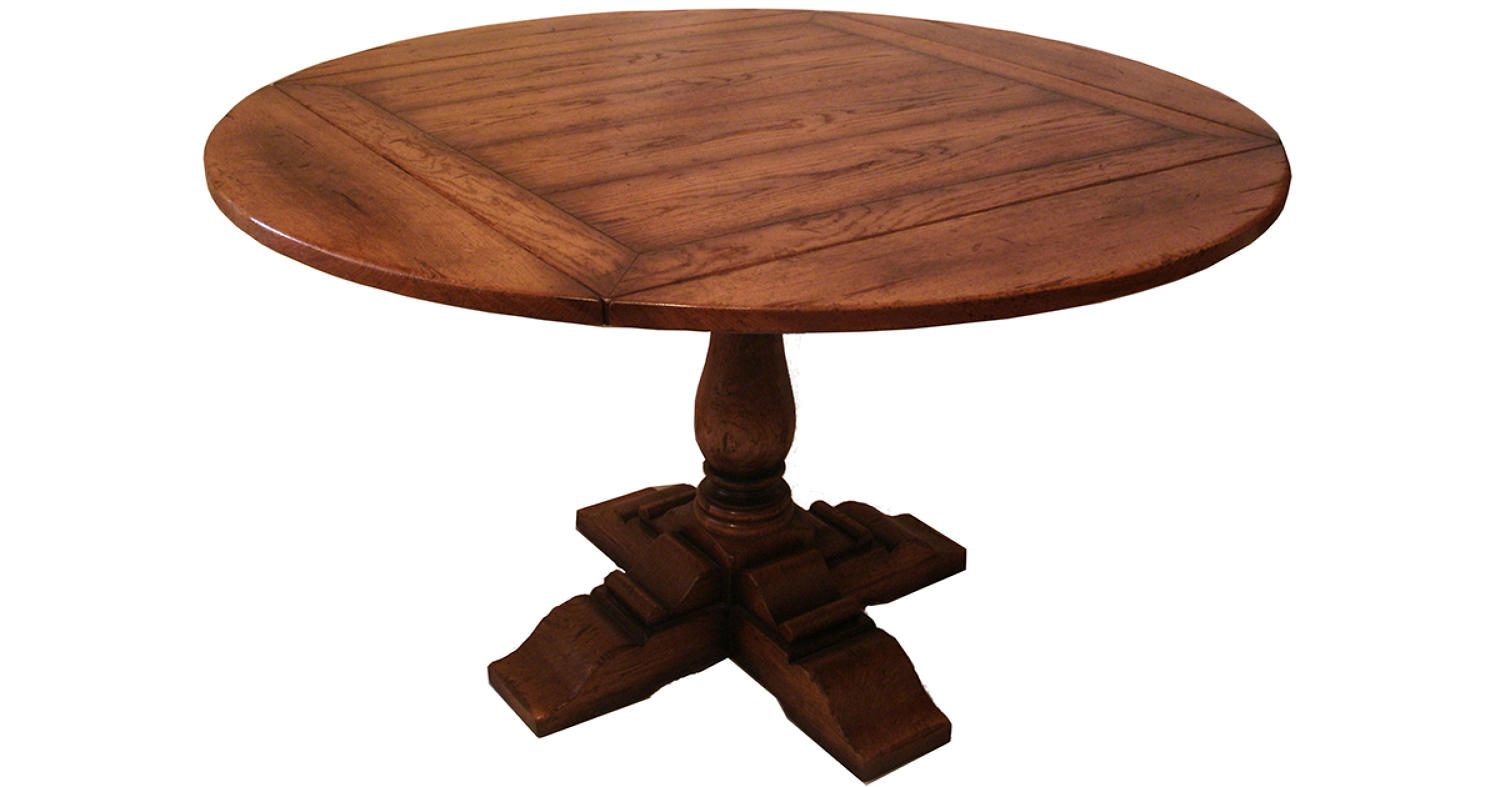 Oak Pedestal Table - square to round