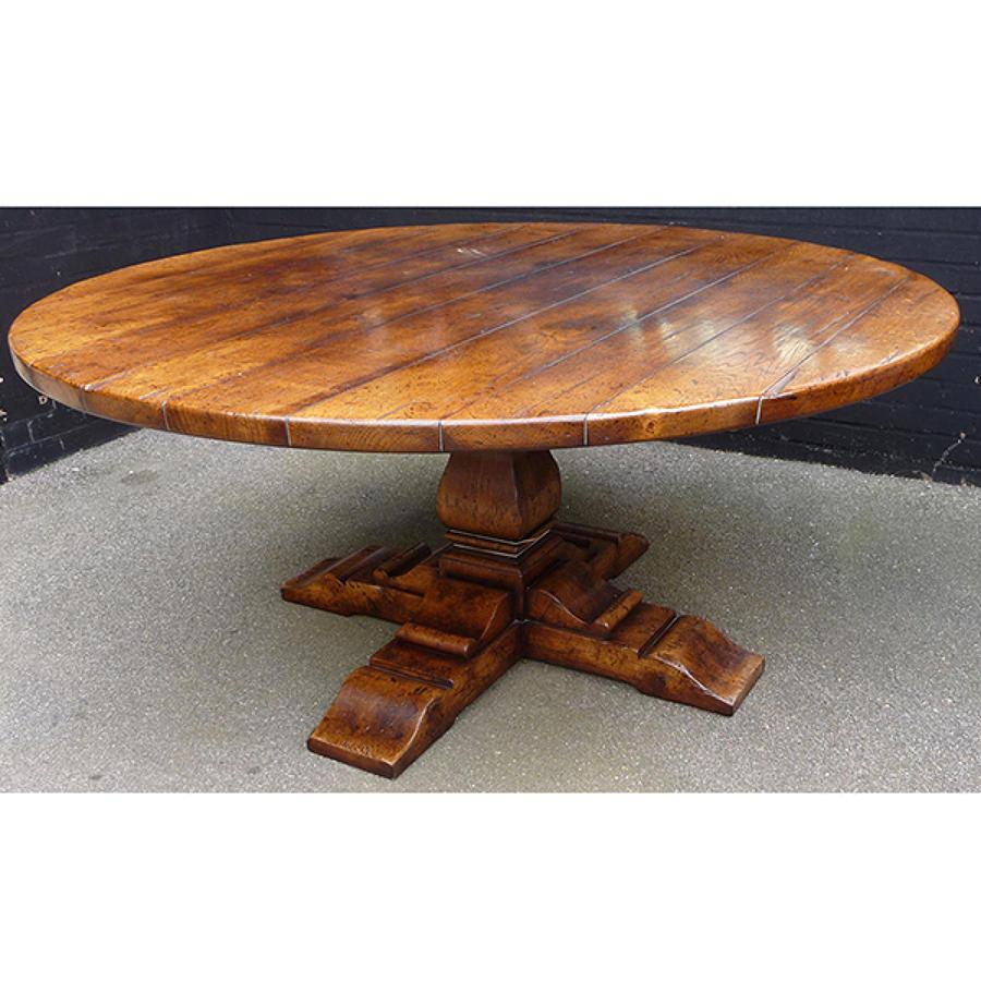 Oak Pedestal Table-Square Column