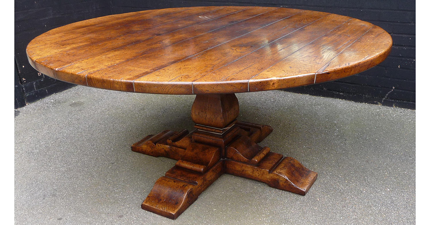 Oak Pedestal Table-Square Column