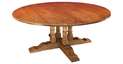 Oak Pedestal Twin Column Dining Table