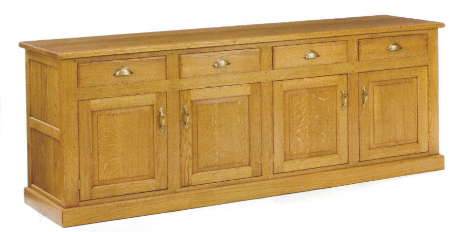 Oak Dresser Base - four door