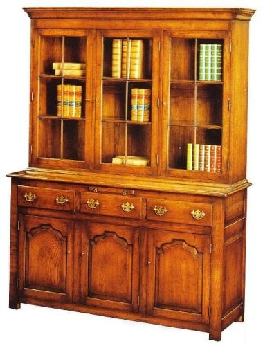 Three door Oak Glazed Bookcase