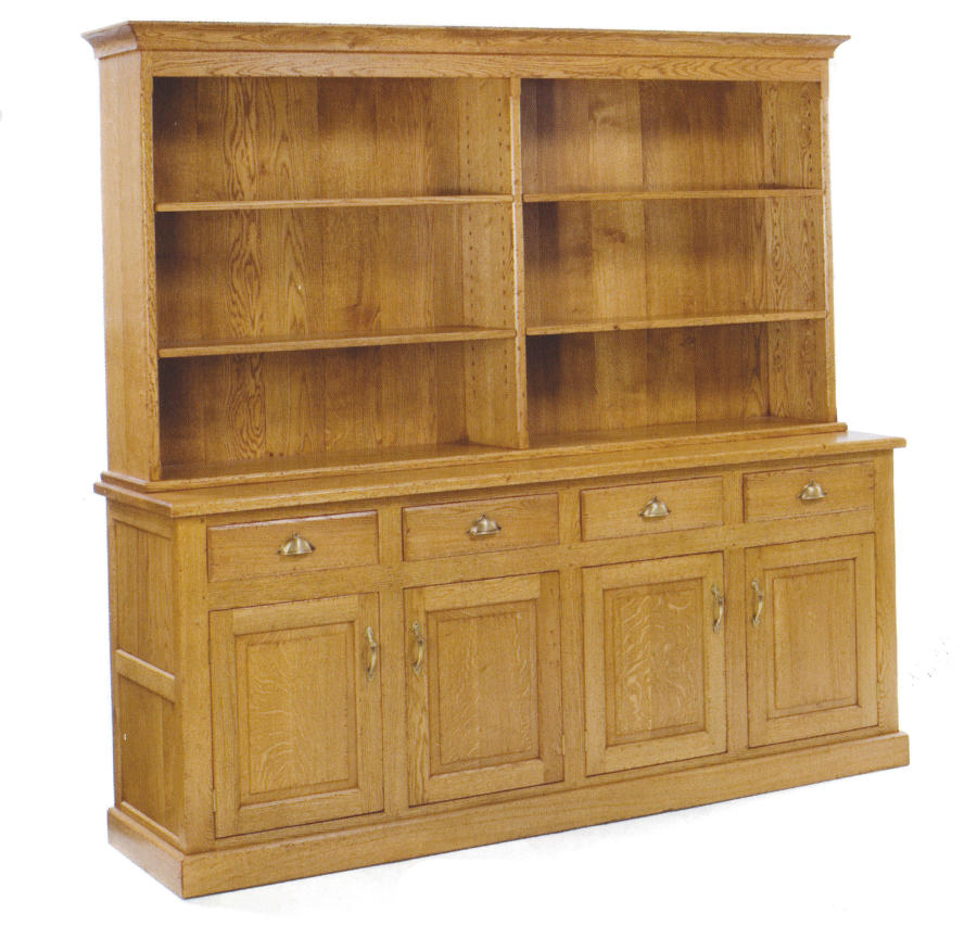 Oak Open Bookcase - four doors