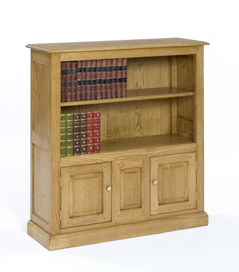 Oak Open Bookcase with cupboards